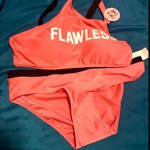 """BNWT peach color bikini """"Flawless"""" written on top"""